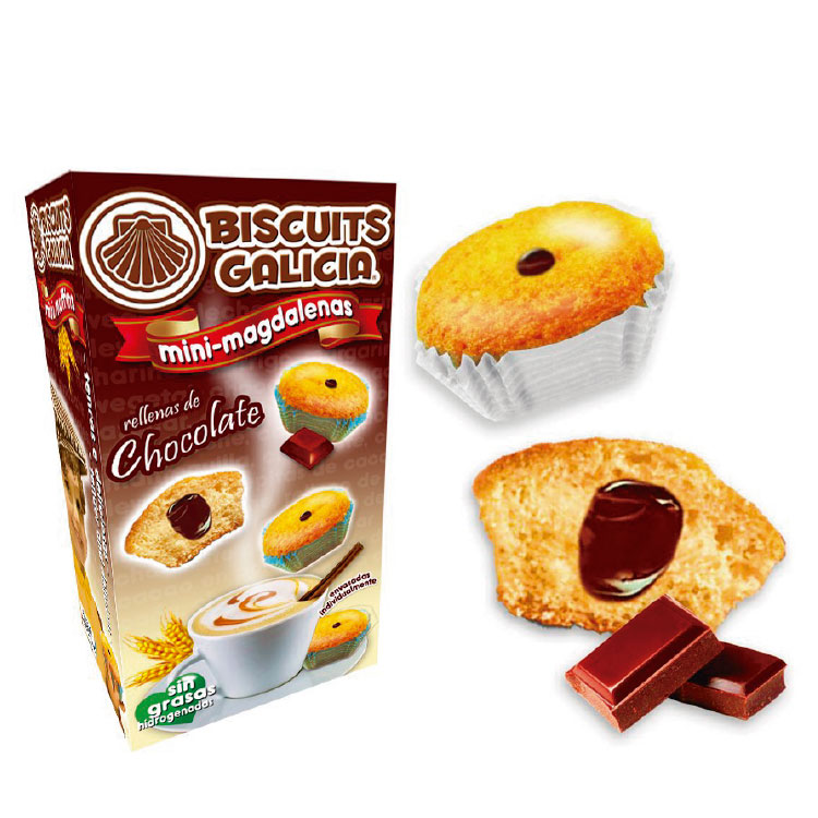 mini-magdalenas rellenas de chocolate Biscuits Galicia